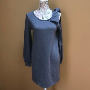 Everly Gray Cold Shoulder Bow Sweatshirt Dress S
